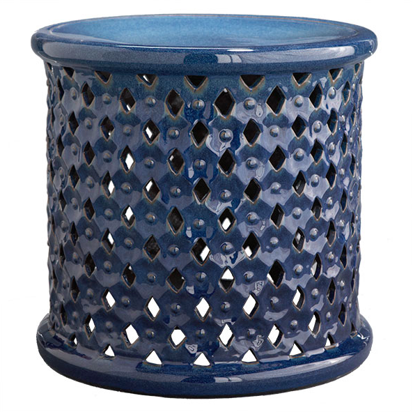 Diamond-Pattern Blue Stool | Wisteria