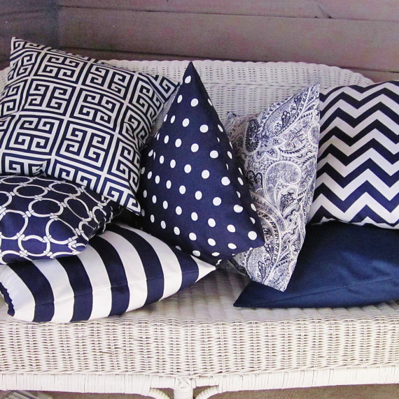 Navy Blue Pillow Covers | Giggles of Delight/Etsy