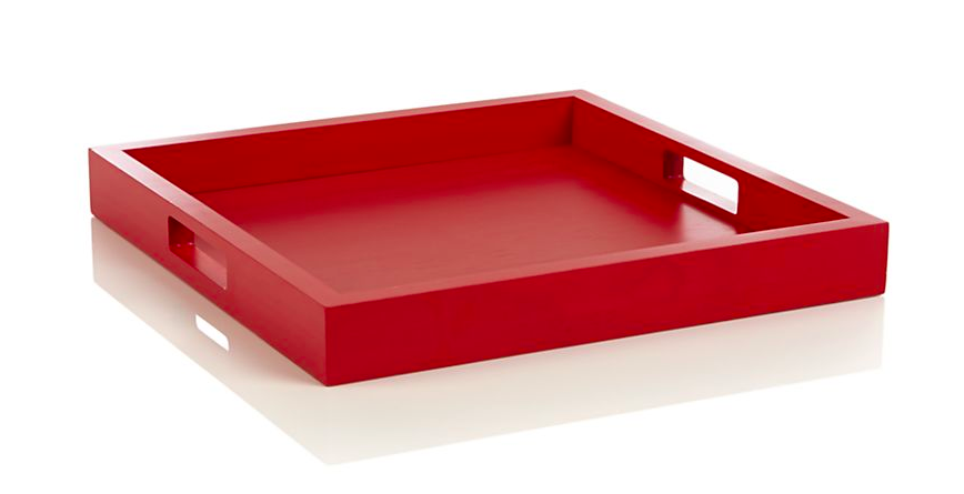Zuma Fiery Red Tray - Crate & Barrel