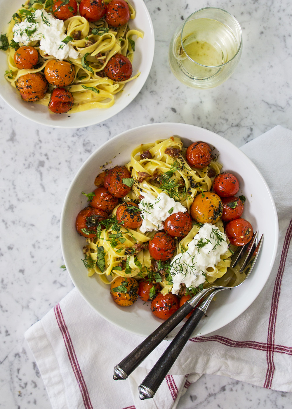 Garlic and Herb-Roasted Cherry Tomato Carbonara