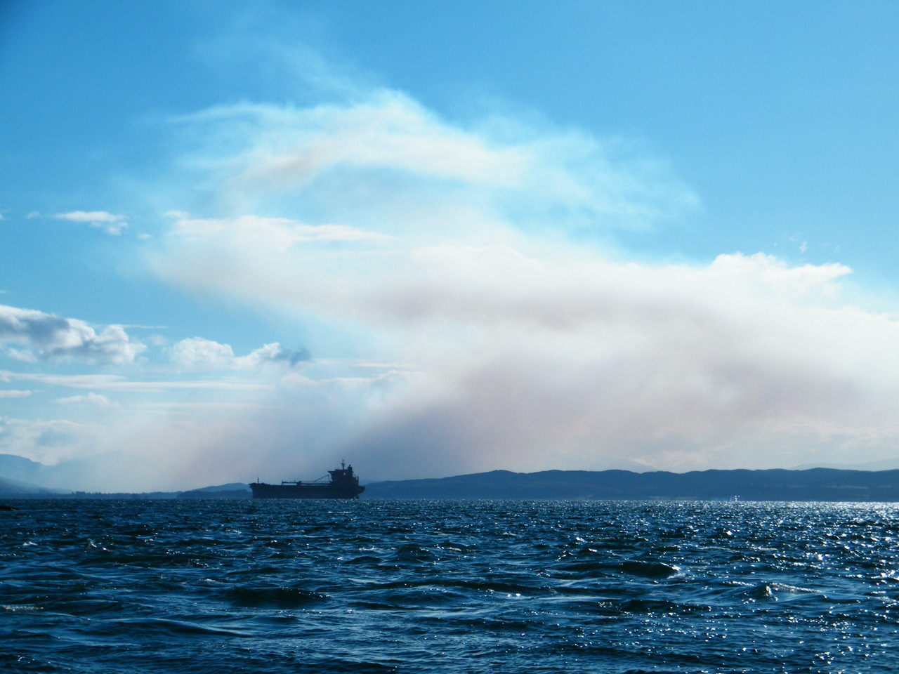 Smoke from Bonawe at 0840 from Firth of Lorne