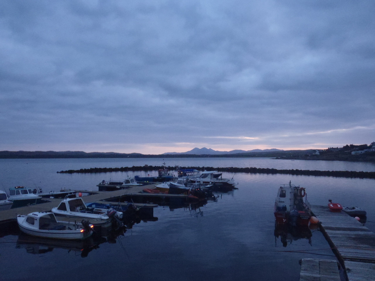 Bowmore Harbour with the Sunrise over the Paps of Jura