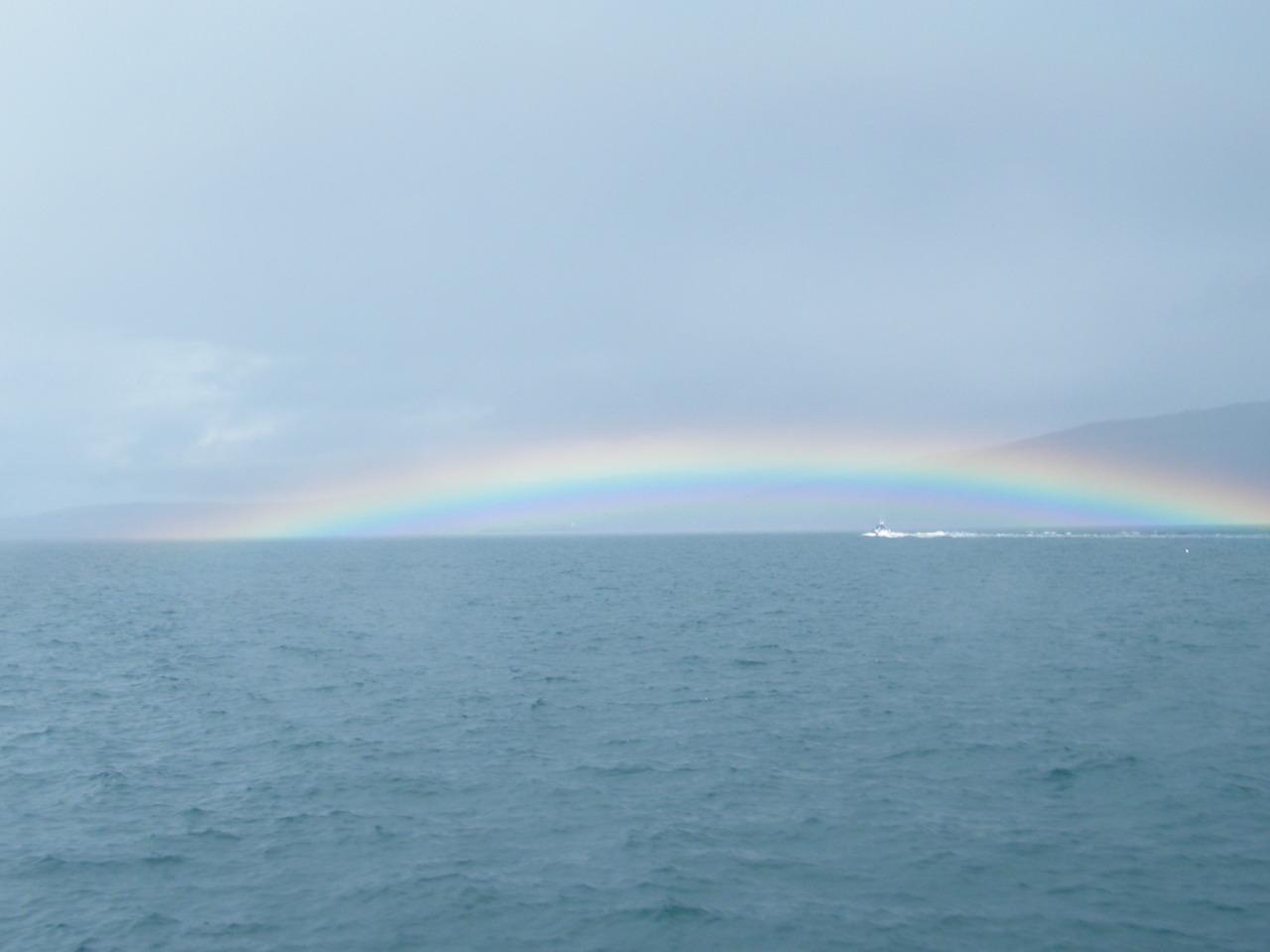 Rainbow over 'Power of Scotland'