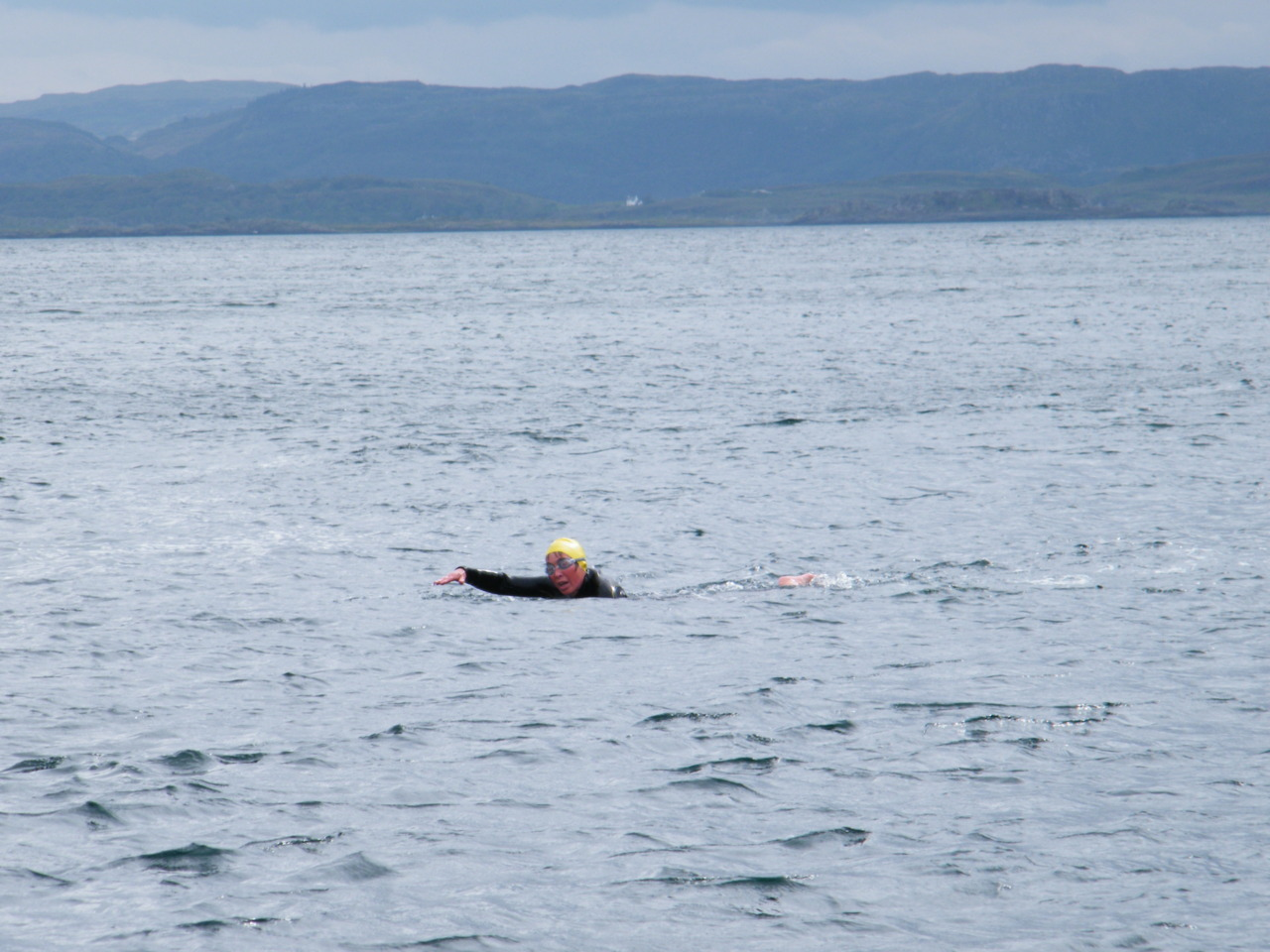Rohan Beyts swimming across the Corryvreckan