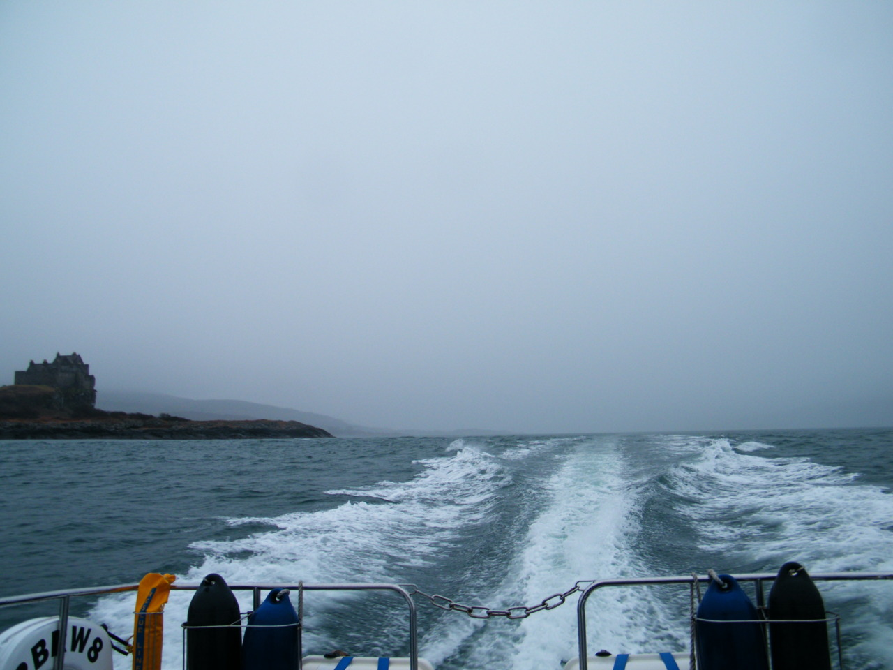 Heading back to base, looking up the Sound of Mull with Duart Castle in view.