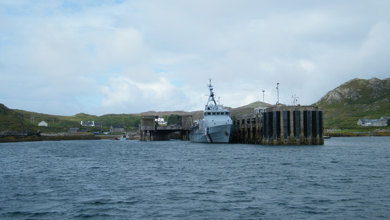 UK Border Agency Vessel Sentinel at Colonsay Pier