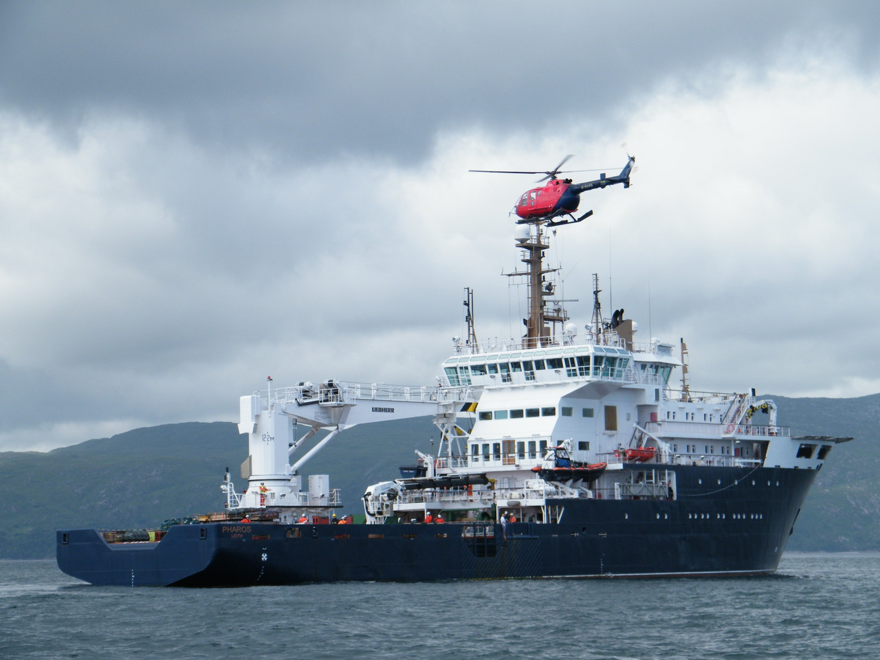 NLV Pharos and her Helicopter at Lismore Lighthouse