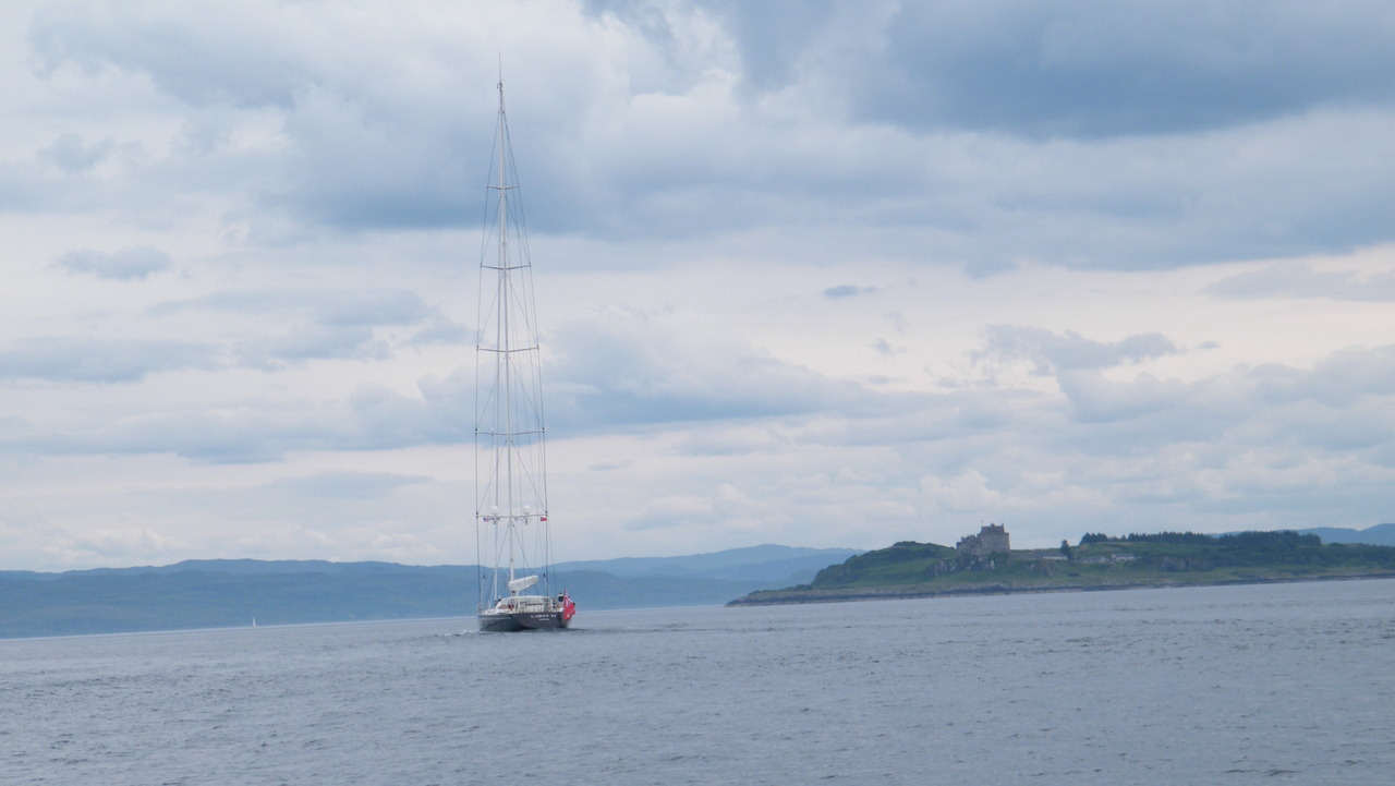 Yacht 'Lady B' with Duart Castle in the background