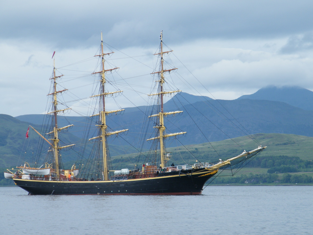 "Tall Ship ""Georg Stage"" with Ben More in the background"