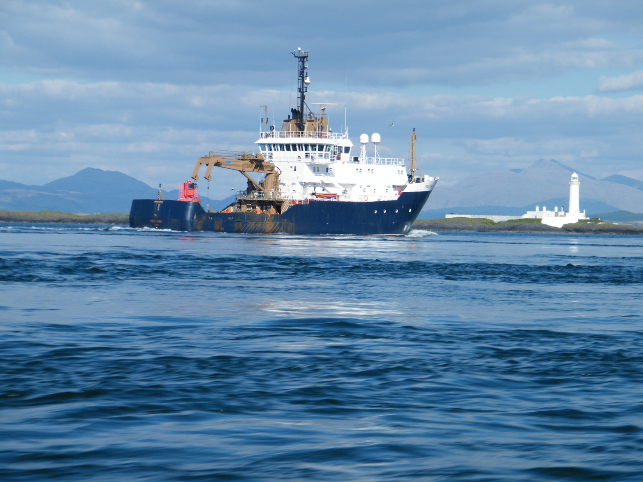 "NLB Ship ""Pole Star"" passing Lismore Lighthouse"