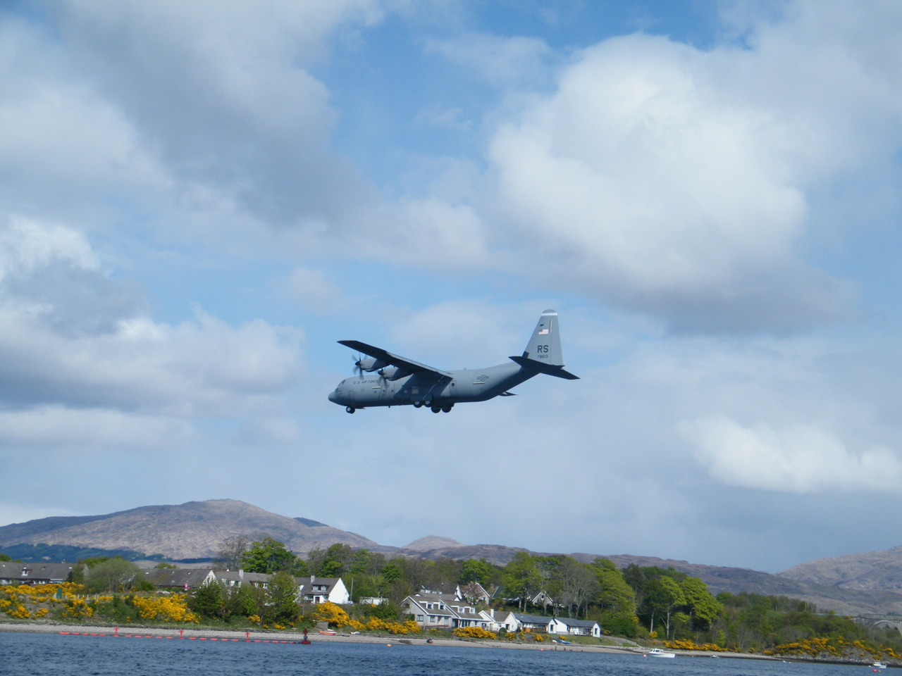 US aircraft C-130J Hercules from Ramstein in Germany doing a fly by over Oban Airport