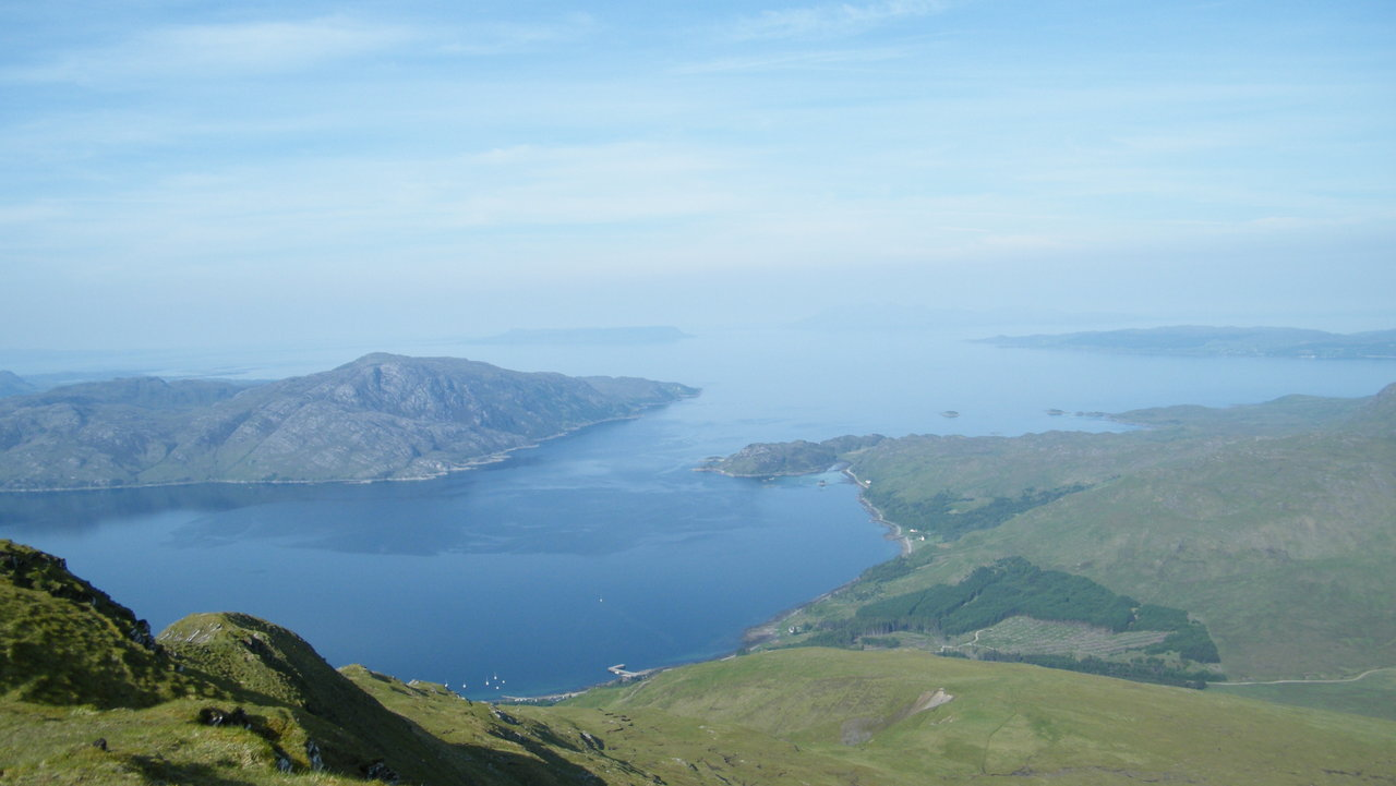 The view from the top of Sgurr Coire Choinnichean looking towards Mallaig, Eigg and Rum