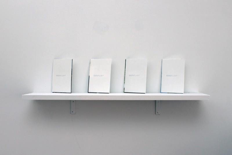 "Samuel Draxler,  ""Untitled"" (without)  , 2011; Two photographs documenting the artist's travels, glue; Approximately 4 x 6 inches each; Variable edition of 5"