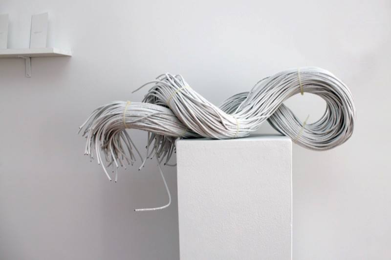 "Samuel Draxler,  ""Untitled"" (Aether)  , 2012; Ethernet cable, zip ties; 12 x 12 x 30 inches"