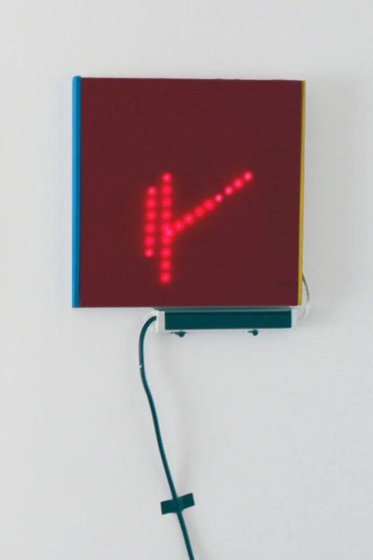 Rin Johnson,  1st light sketch in red  , 2013; Plexiglas, ply wood, and LED lights; 12 x 12 x 1 inches