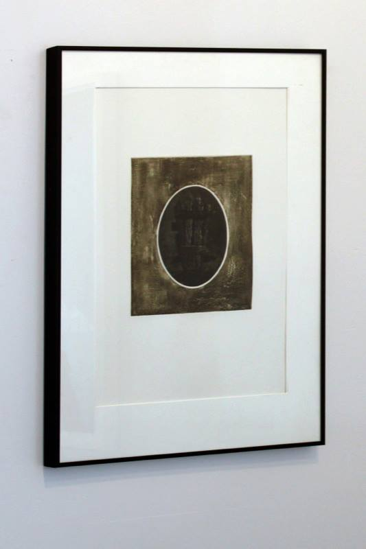 Myles Dunigan,  Sarcophagus  , 2011; Mezzoting and etching with chine colle; 10 x 8 inches; Framed: 20 x 16 inches