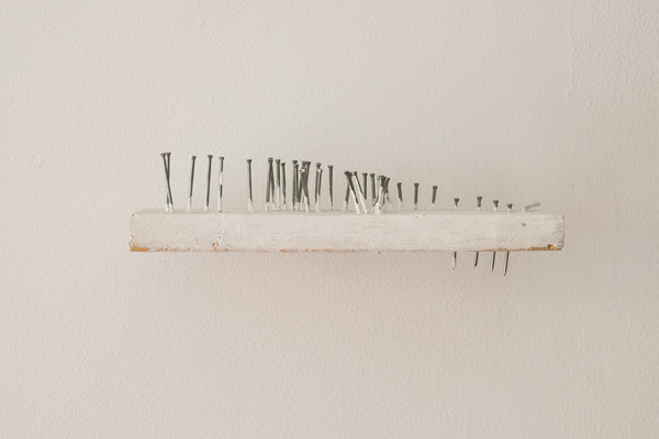 Brian Rattiner  Imaginary Landscape in White  2013 Nails, wood, gesso 3 x 8 x 3 inches