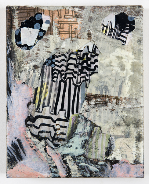 Meg Lipke  Meddling in the Procedure  2014 India ink, layered and cut muslin on linen with fabric dye and beeswax 10 x 8 inches ML001