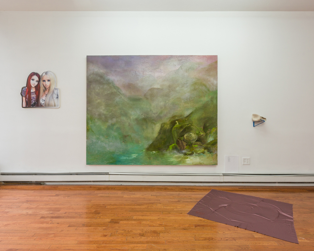 Installation view  Center (wall): Harris Johnson,  Lonely Hangover,  2015 Oil, pastel, polyurethane, acrylic, and water mixable oil on canvas, 72 x 84 inches
