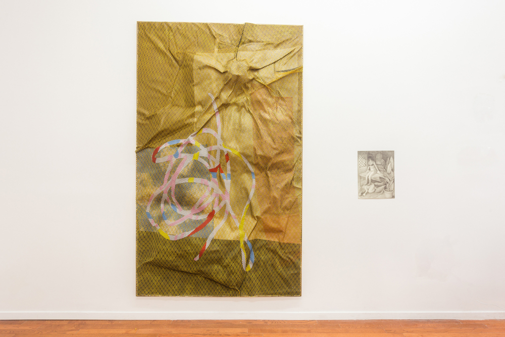 Left: Lior Modan,  Dance! , 2013 Fabric, paper, paint, mesh, wood, resin, 85 x 42 x 2 inches  Right: Vanessa Gully-Santiago,  Undertow , 2014 Graphite on paper, 14 x 11 inches