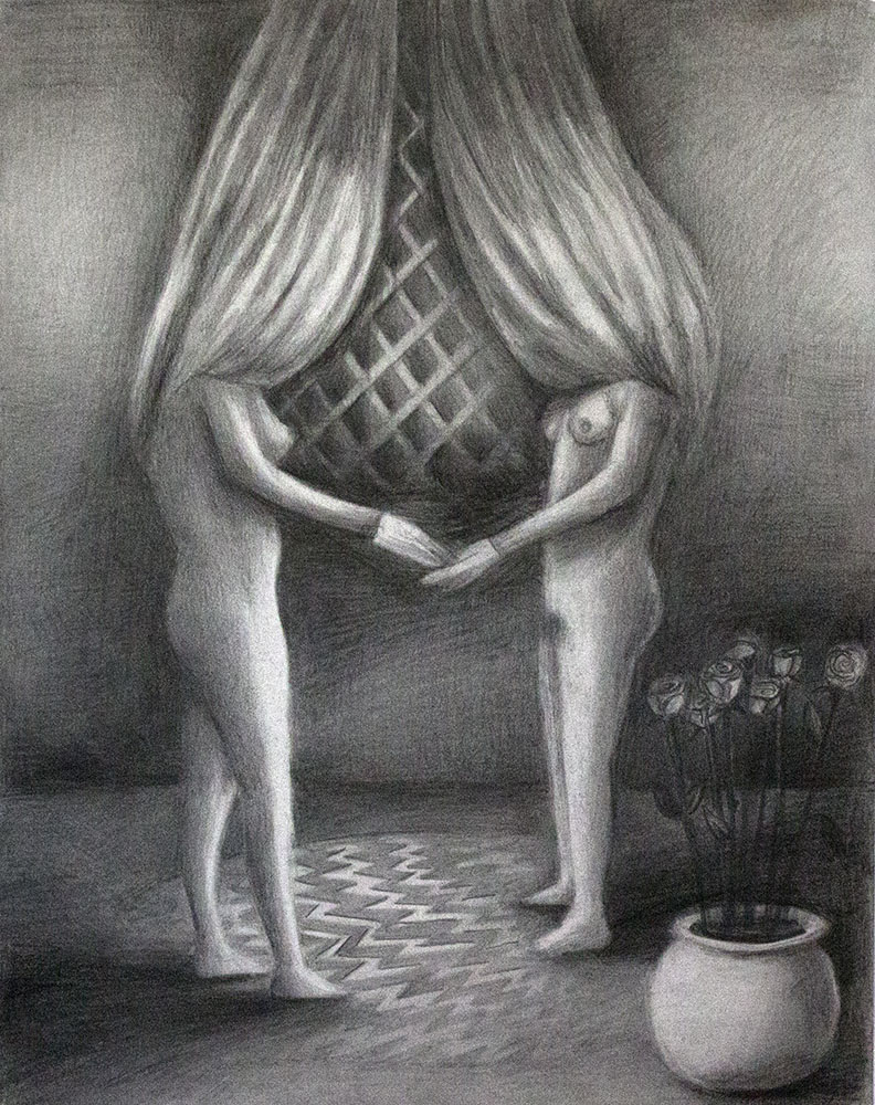 Vanessa Gully-Santiago,  A Pair,  2014 Graphite on paper, 14 x 11 inches