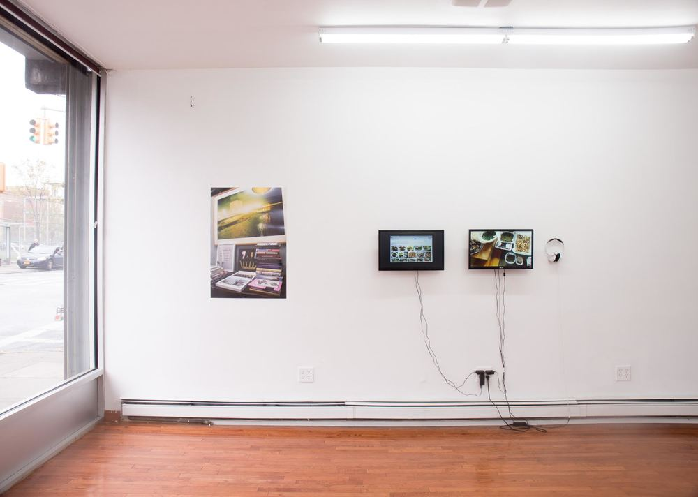 Left: Søren Aagard,  The Big Oyster HWC , 2015. Digital photo/inkjet print, 25 x 24 inches.   Right: Søren Aagaard,  Table Top Dolly , 2014. Two-channel video installation, 25:00.