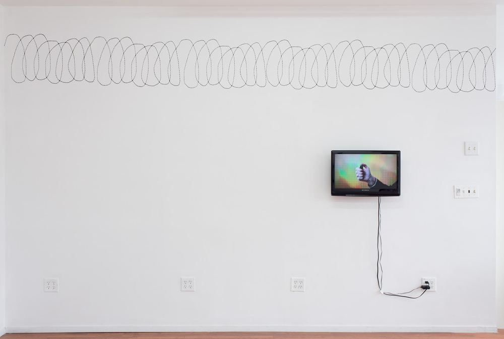 Above: Ariel Reichman,  Barbed Wire , 2015. Acrylic, dimensions variable.   Below: Ariel Reichman,  You see my mother, she just can't light a lighter , 2015. HD video, 04:25.