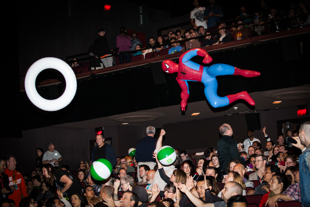 Spider-Man joins the Midnight Madness crowds at the Ryerson Theatre. (Photo: Connie Tsang)