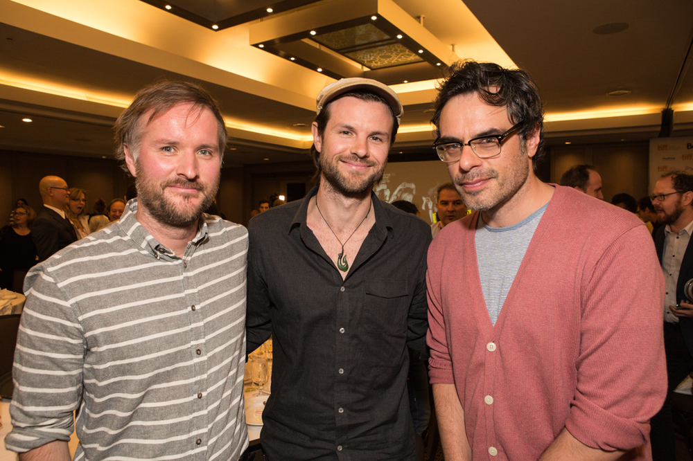 Actor Stuart Rutherford (What We Do in the Shadows), director James Napier Robertson (Dark Horse), and director/producer Jemaine Clement (What We Do in the Shadows) at the 2014 TIFF Awards Brunch. What We Do in the Shadows took home the Grolsch People's Choice Award for Best Midnight Madness Feature.