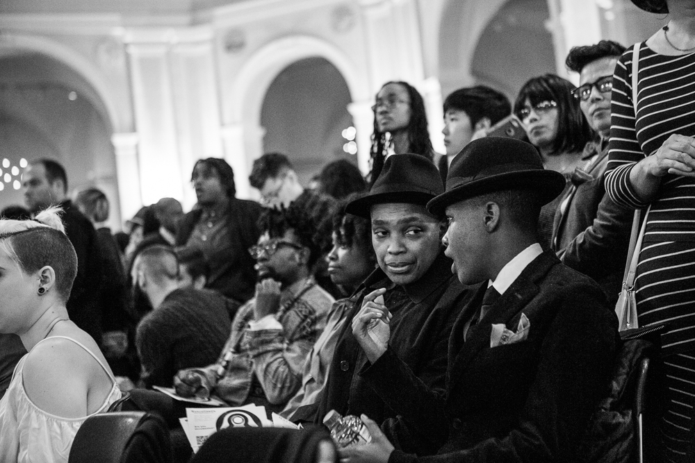 "Sheba attends the annual DapperQ fashion show at the Brooklyn Museum. (L-R: Natty Soul Man, Nefertiti Ankra, Sheba Legend, Lauren Singletary.) ""I have to listen and take other people's perspectives into account if I'm to be able to hold hands with them and skip into the sunset, you know? If I don't let you talk, and I'm talking all the time... that's not a relationship."""