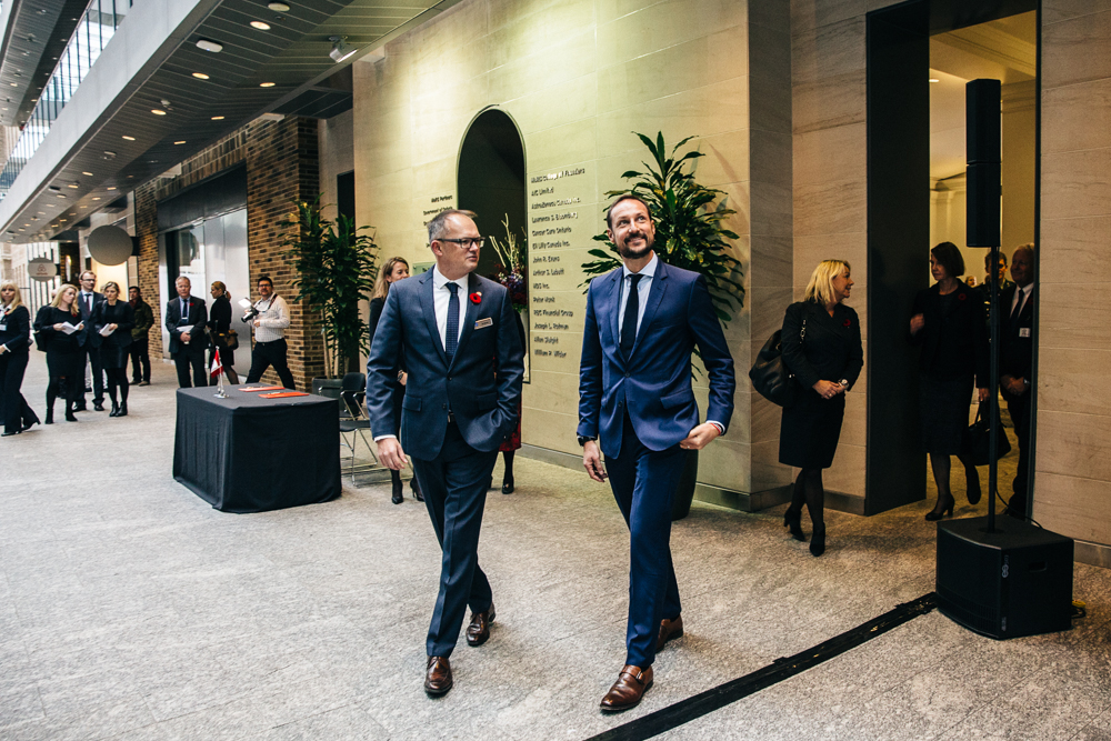 Crown Prince Haakon of Norway makes his grand entrance into the MaRS atrium, November 2016. (Photo: Connie Tsang)