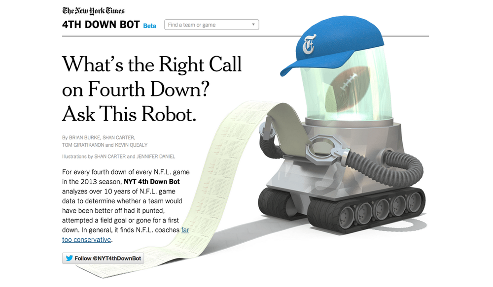 4th Down Bot, The New York Times   By: Kevin Queally, Shan Carter, Tom G, and Jennifer Daniel