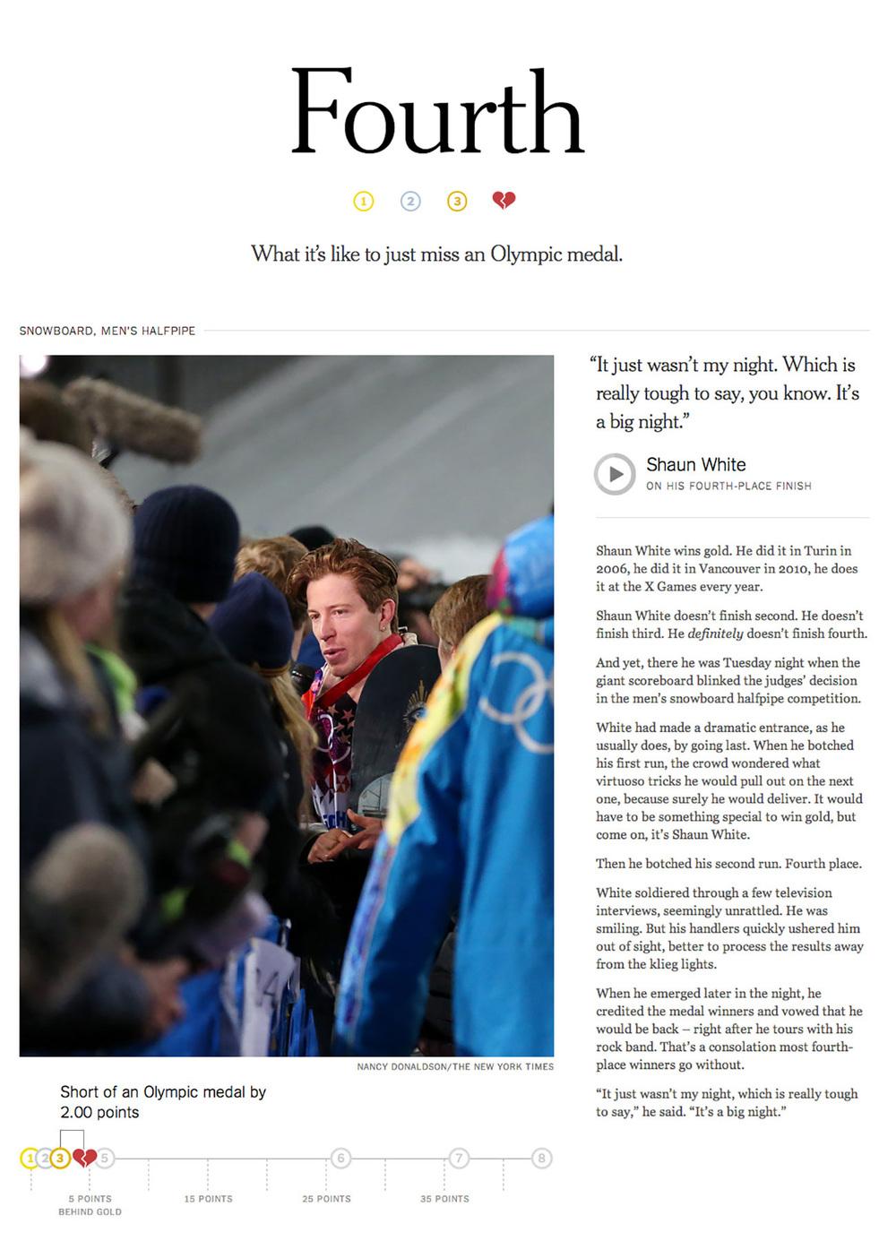 Fourth, The New York Times    Produced by Ken Belson, Sam Borden, John Branch, Shan Carter, Jennifer Daniel, Sam Dolnick, Nancy Donaldson, Josh Keller, Jim Luttrell, Mary Pilon, Justin Sablich, David Segal, and Joe Ward.