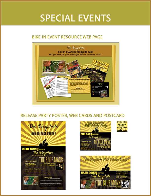 Marketing materials for a DVD release party and a web page that encouraged non-profits to host bike-in movie events.