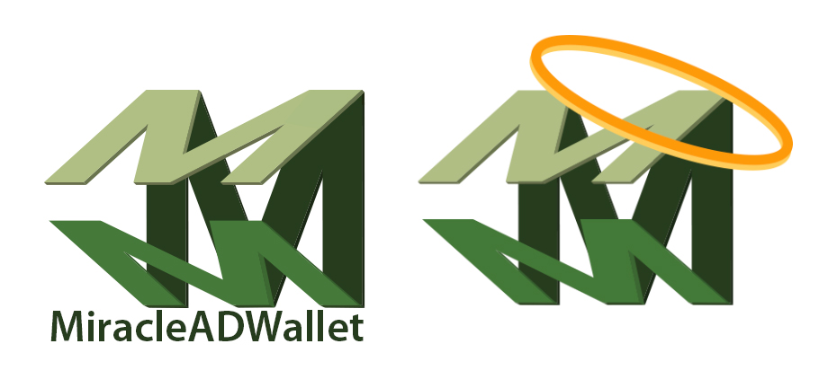 """The miracle in the Miracle AD Wallet is in the fold. It holds important information that fits into your back pocket, accessible at all times. The logo cleverly folds the """"M"""" and emphasizes the miracle with the halo."""