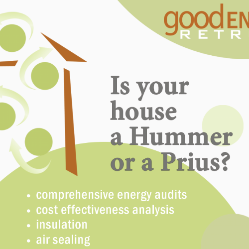 PROJECT: Consumer Guide Advertisement  ROLE: Freelance Graphic Designer  CHALLENGE:  Attract upscale and environmentally aware clients to retrofit their homes by Good Energy Retrofits.
