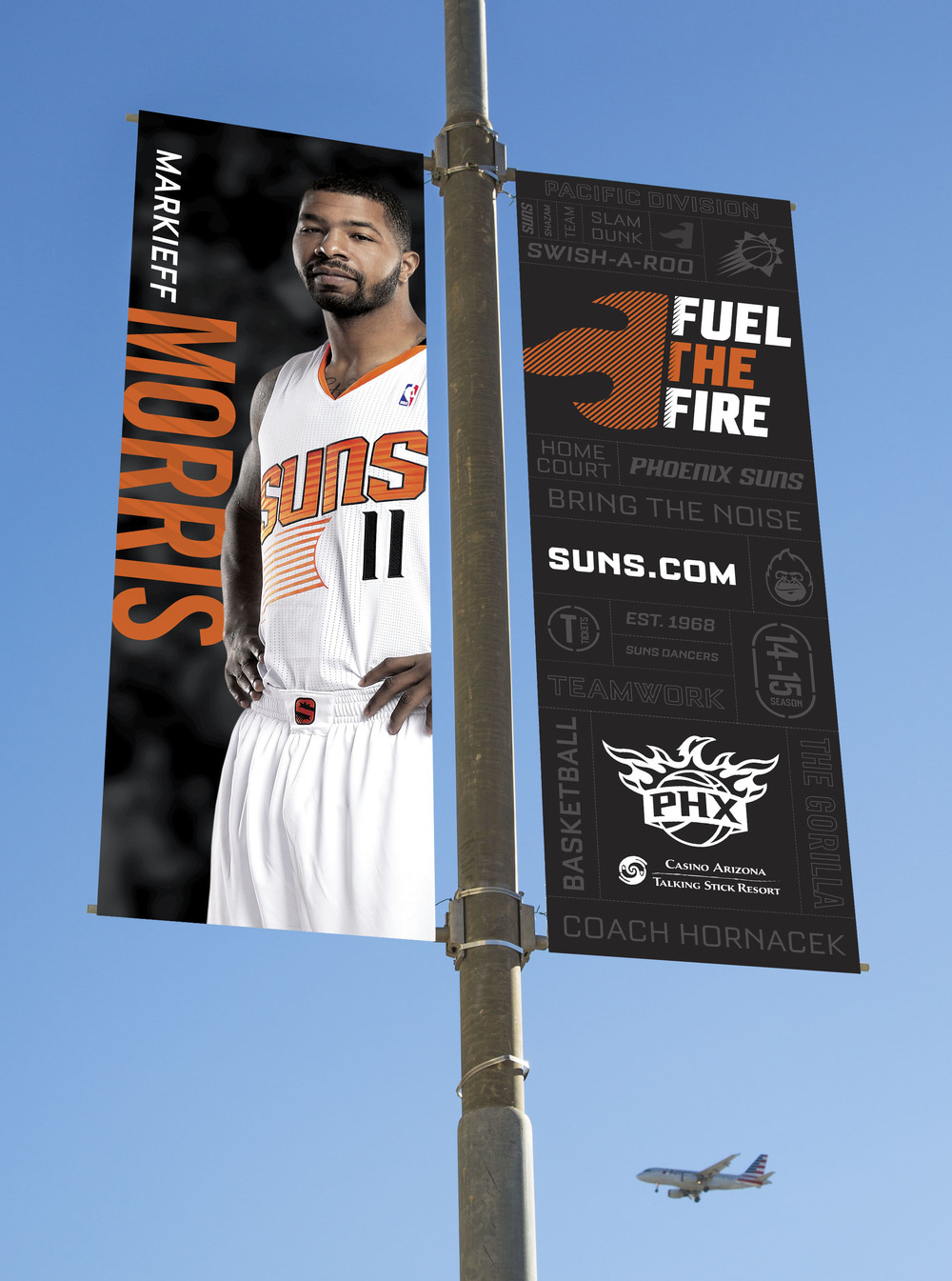 Phoenix Suns Downtown Flag Banners Art Direction: Katie Blaker, Hugh Mulligan Creative Direction: GG LeMere, Greg Fisher, Jason Smith
