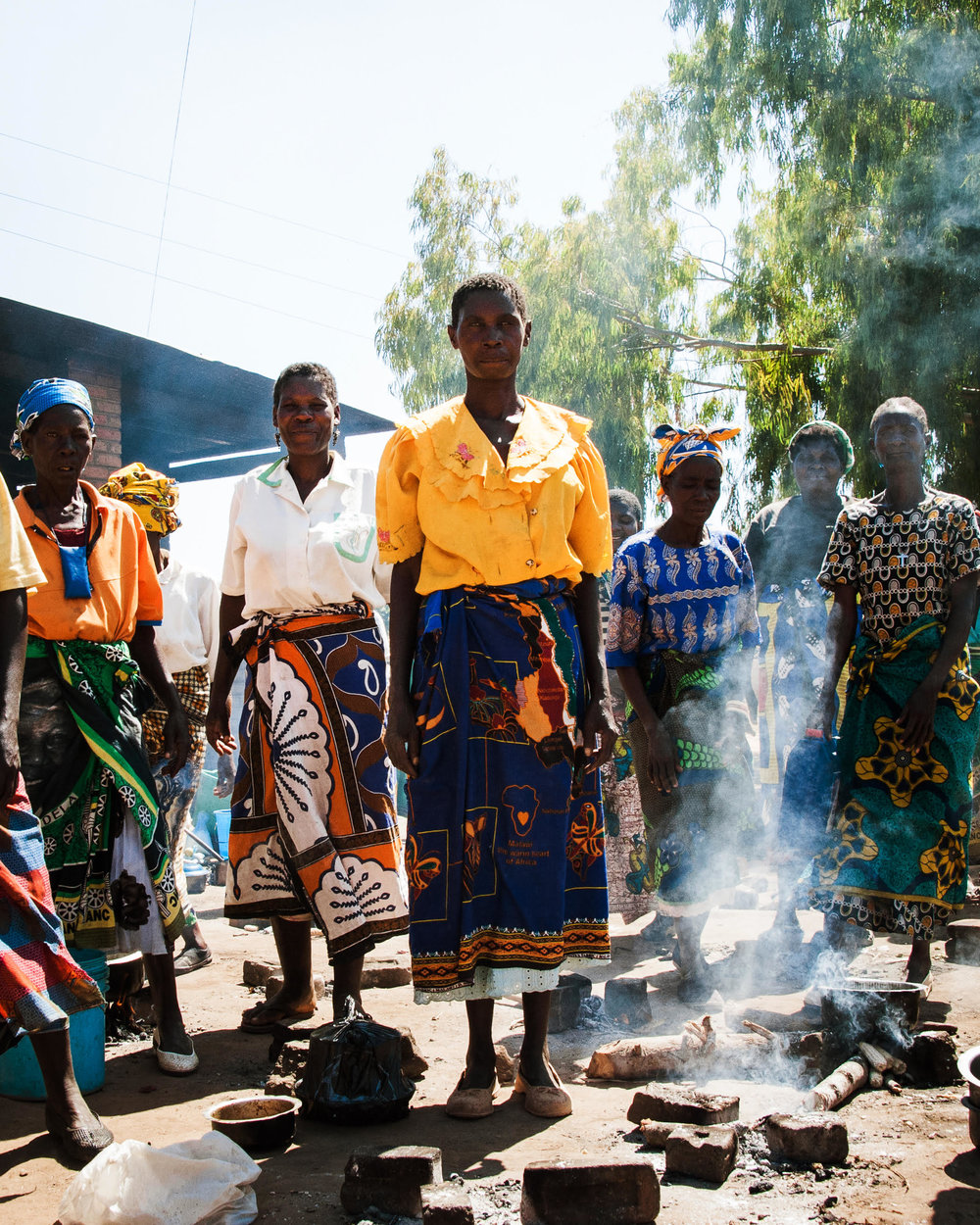 Women cooking outside a hospital in Malawi, Africa 2011.