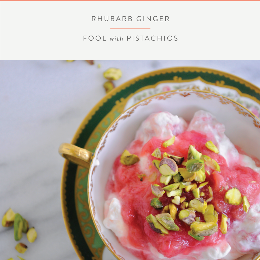 Summerfield Delight | Rhubarb Ginger Fool with Pistachio Crumbles
