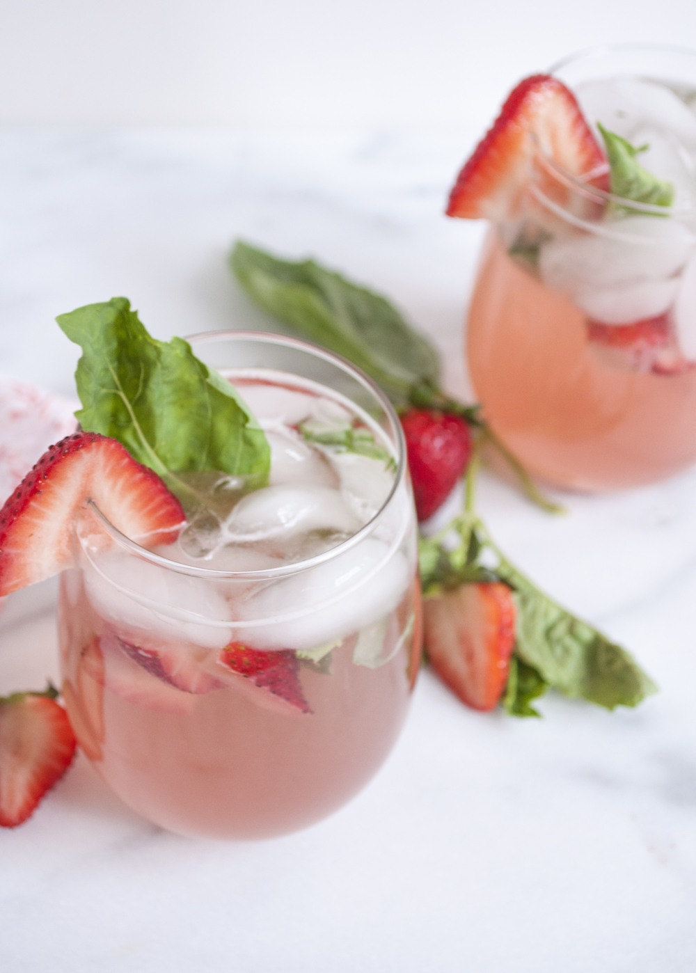 Summerfield Delight | Strawberry Basil Rhubarb Sangria with Rose