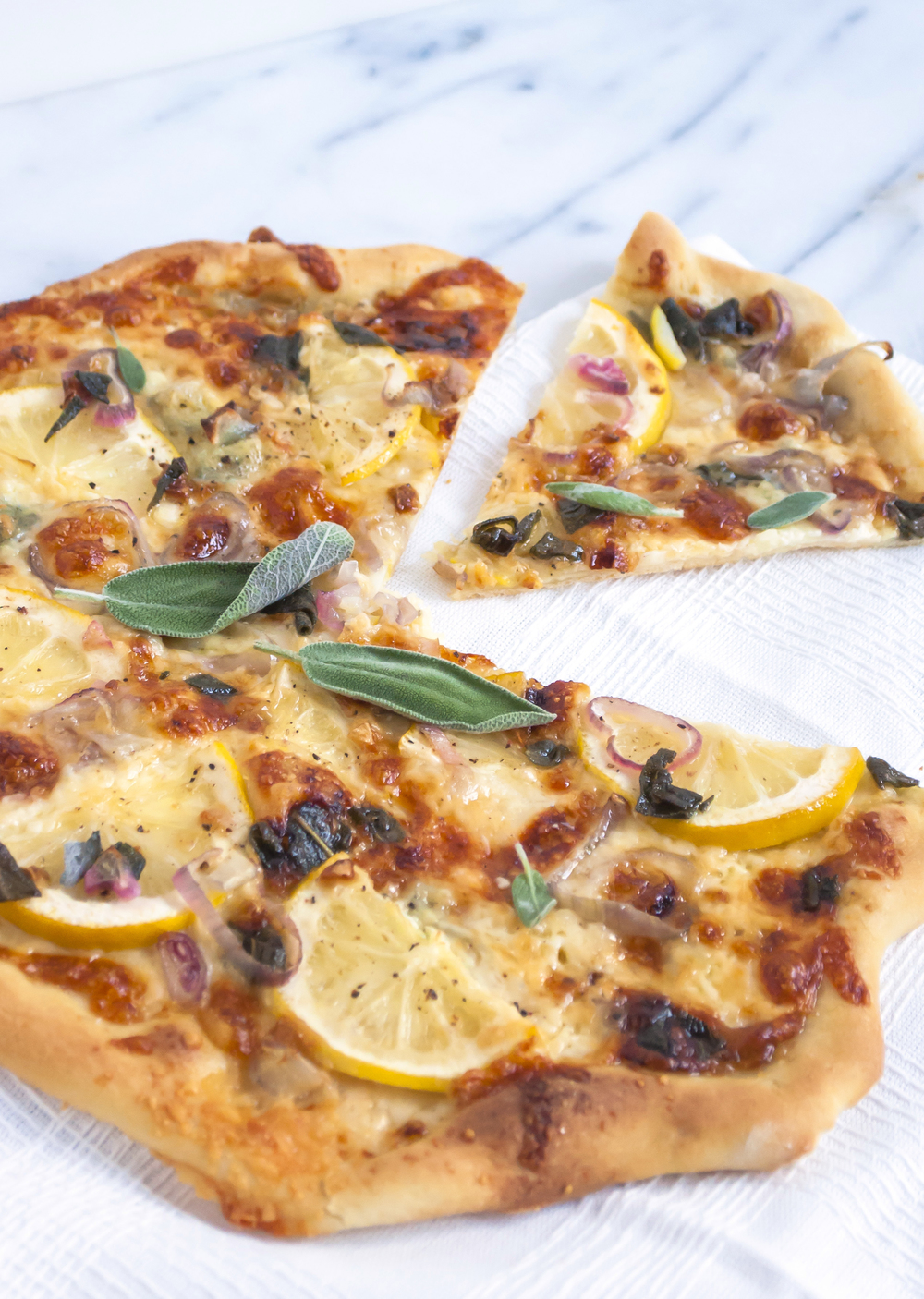 White Pizza with Fried Sage and Lemon
