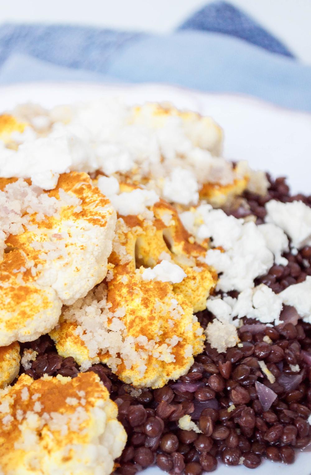 Turmeric and Panko Cauliflower with Black Lentils