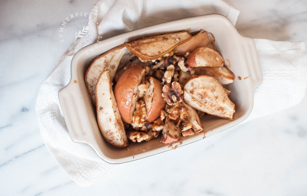 Baked Apples and Pears with Walnuts and Spiced Caramel
