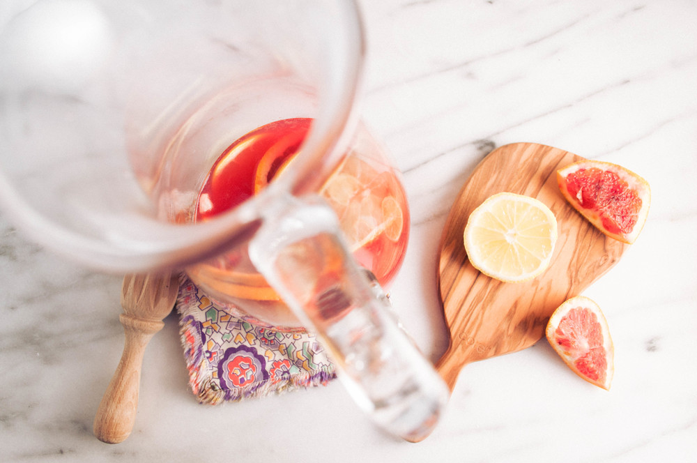 Summerfield Delight | Winter Blood Orange Sangria with White Wine and Rhubarb by AITA