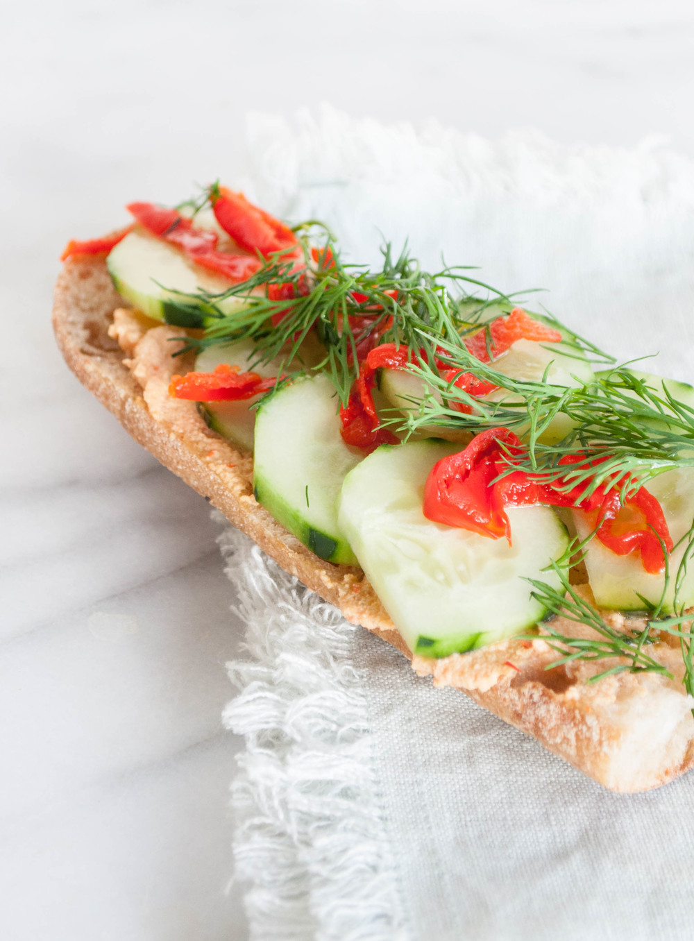 Summerfield Delight | Cucumber Baguette with Peppadew Hummus