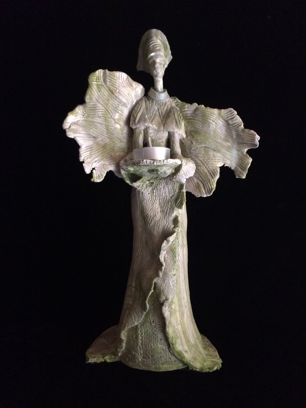 "Votive Angel,16"", fired clay"