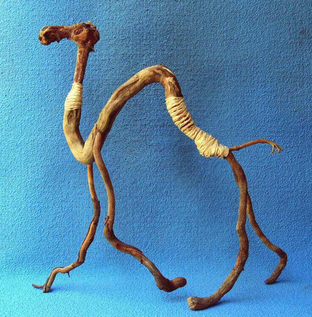 """Camel, 14"""", sticks and raffia"""