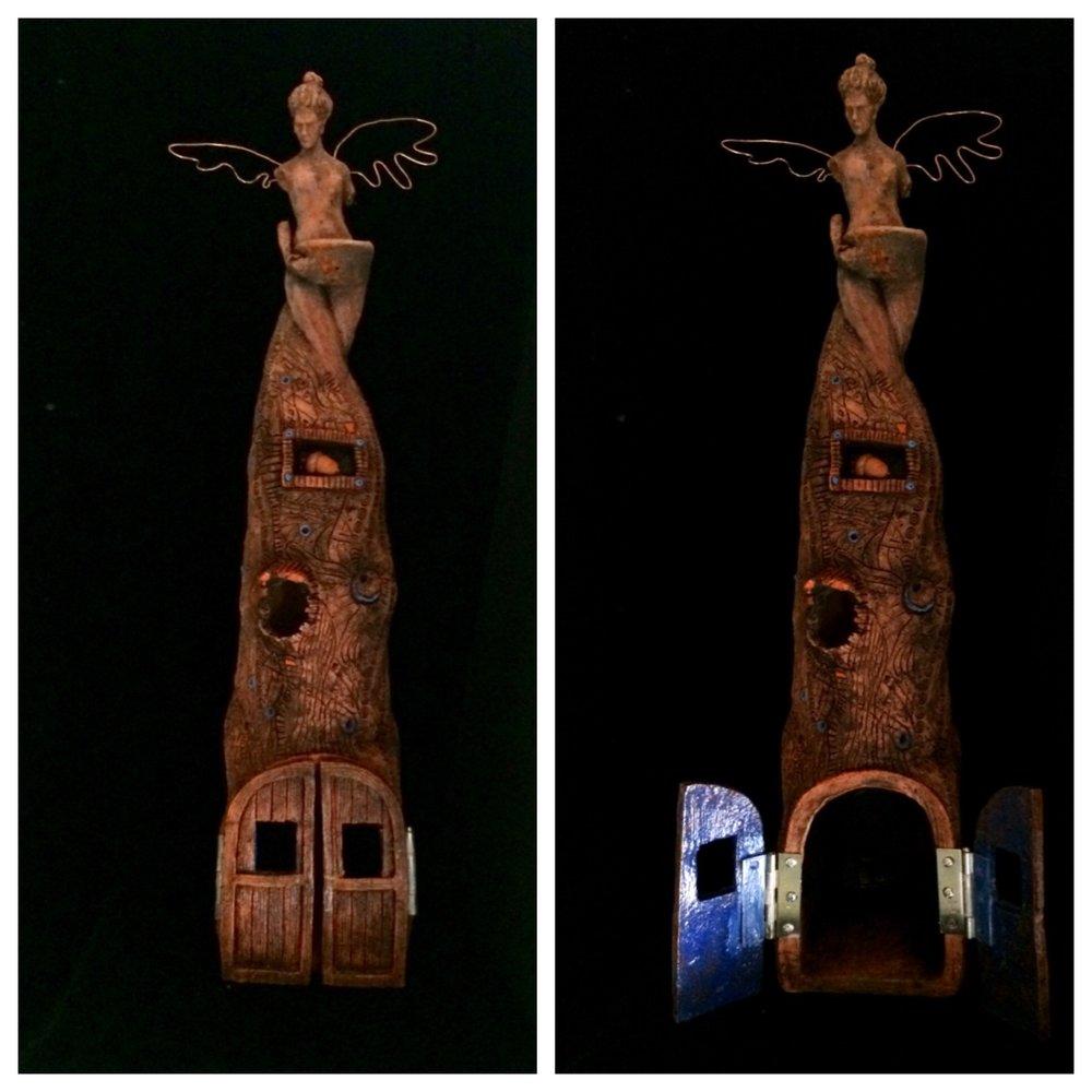 """Birdhouse Angel Altar, 26"""", fired clay"""