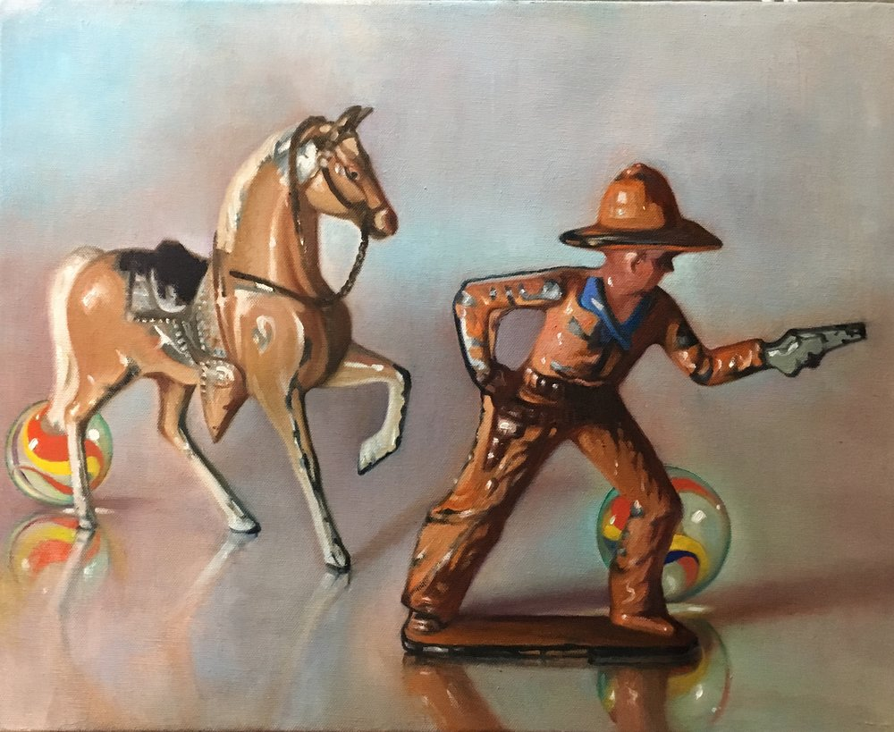 "Stand-off with Red Horse, 16""x20"", oil on canvas"
