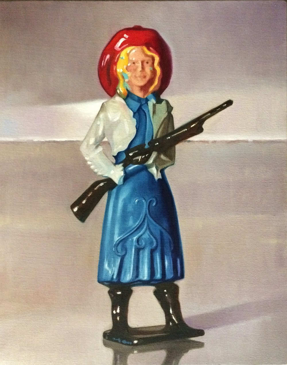 "The Pretty Constituent Cowgirl, 20""x16"", oil on canvas"